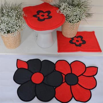 Jogo de tapetes Banheiro  Lorena Rosa - Vermelho com poá